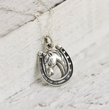 Horse Necklace - Sterling Silver Lucky Horse in Horseshoe Necklace - Equestrian Necklace -Rodeo Necklace-Equestrian Pendant -Lucky Horseshoe