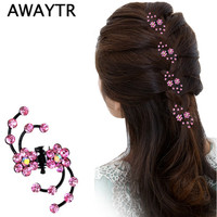 Hair Claw Clip 6Pcs/Lot Hot Sale Charming Sweet Exquisite Rhinestone Plum Flower Hair Claws Hair Jewelry Accessories