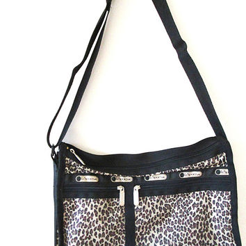 Vintage 80's LESPORTSAC Retro LEOPARD PRINT Cross Body Shoulder Overnight Travel Bag