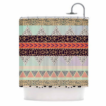 "Vasare Nar ""Animal Print Tribal"" Multicolor Pastel Shower Curtain"