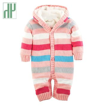 Baby Rompers Winter Thick Climbing Clothes Newborn Boys Girls clothes Warm knitted baby clothes Sweater striped Hooded jumpsuit