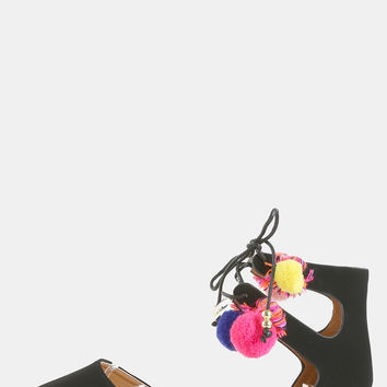 Multicolor Threaded Pom Flats BLACK | MakeMeChic.COM