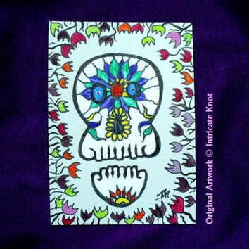 ACEO Original Art Card - Skull - Folk / Day of the Dead / Alternative - (2.5 x 3.5 inches) - Ink and Paint - IntricateKnot