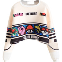 White Striped Mario No.34 and Letter Print Long Sleeve Cropped Sweatshirt