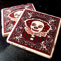 NEW Playtime With Pennywise Tumbled Marble Coaster Set of 2 Stephen Kings It