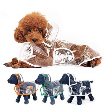 Dog transparent raincoat light