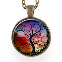 Tree Of  Life Necklace, Sunset Blue, Red, & Yellow