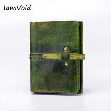 IamVoid Fashion Designer Handmade Hand Brushed Color Genuine Leather Wallet with Coin Pocket Real Leather Purse for Men Women