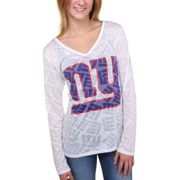 New York Giants Women's Sublime Burnout V-Neck Long Sleeve T-Shirt – White