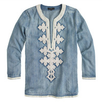 J.Crew Womens Petite Embroidered Tunic In Chambray
