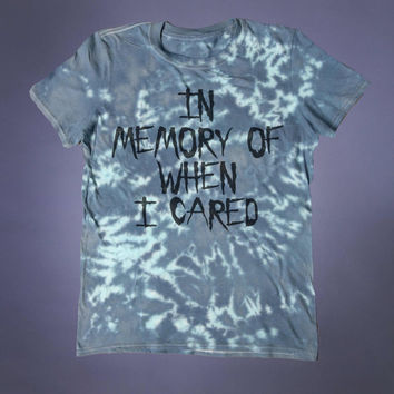 Grunge Clothing In Memory Of When I Cared Slogan Tee Creepy Cute Emo Punk Alternative Tumblr T-shirt