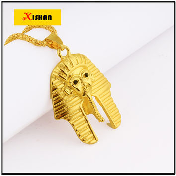 NEW Fashion Jewelry Vintage Classic Egyptian pharaoh Head Gold Pendant Necklace for Men Women Collier