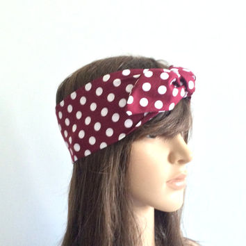 Burgundy Polka Dot Headband, Turban, Bandana, Teen, Women Hair Accessory