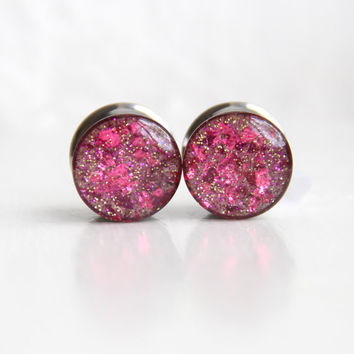 """Pink Glitter Ear Gauges, Sparkly Plugs, OOAK, Pink Gauges, Fashion Plugs for Women - size 7/16"""", 1/2"""", 9/16"""""""