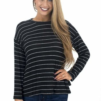 Women's Striped Long Sleeve Tee with Open Back