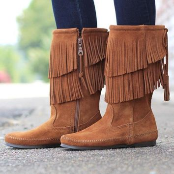 Minnetonka: 2-layer Fringe Boot {brown} - Beauty Ticks