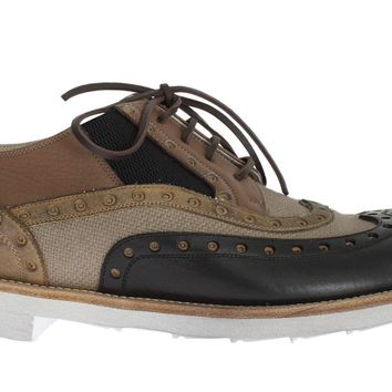 Dolce & Gabbana Beige Black Leather Wingtip Shoes