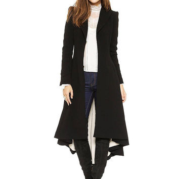 Black Metal Closure Trench Coat