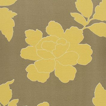Robert Allen Fabric 214609 New Peony Canary Taupe