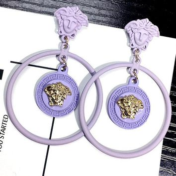 Versace style exaggerated earring personality large circle set diamond lion head long style 100 build contracted ear nail female
