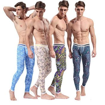 SL00483 Free Dropshipping Men's Pattern Printed Soft Long Johns Thermal Pants Cotton Underwear S M L XL