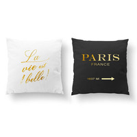 SET of 2 Pillows, La VIe Est Belle Pillow, Paris France Pillow, French Quote, Throw Pillow, Cushion Cover, Gold Decorative Pillow, French