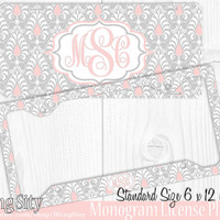 Damask Monogram License Plate Frame Holder Cover Metal Sign Car Tags Personalized Custom Vanity Gray Pink European Pattern Lilly Inspired