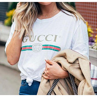 GUCCI Fashion Casual Print Short Sleeve Tunic Shirt Top Blouse