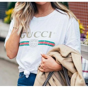 GUCCI Fashion Print Short Sleeve Tunic Shirt Top Blouse
