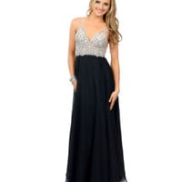 Black & Silver Rhinestone Beaded Chiffon Sleeveless V-Neck Long Dress 2015 Prom Dresses