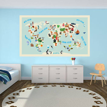 World Map Kids - Repositionable Adhesive Fabric