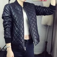 Fashioanble Long Sleeve Quilted Grid Women's PU Leather Coat