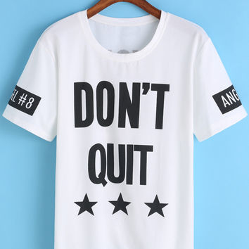Contrast Short Sleeve Letter Print T-shirt
