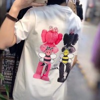 """"""" Dior"""" Woman Casual Fashion Letter Personality Printing Cotton Loose Short Sleeve Tops"""