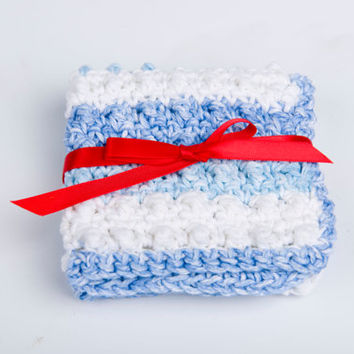 Crochet Washcloth, Scrubbie Cotton, Handmade - shades of blue and white