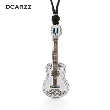 Movie Coco Pixar Necklace Guitar Pendant Handmade Rope Chain Necklace Silver Color Pendant Cartoon/Anime Jewelry Drop Shipping