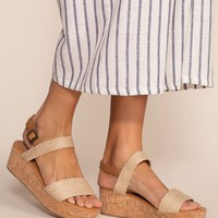 Beaches Natural Platform Sandals