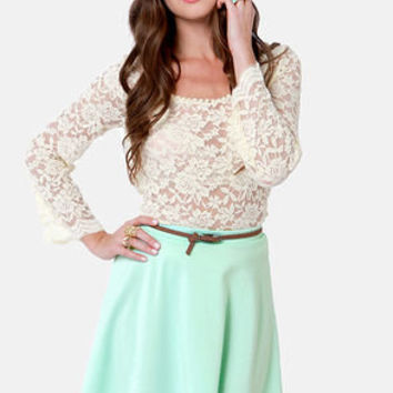 Any Way You Want It Mint Blue Skater Skirt