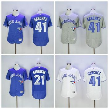 Toronto Blue Jays 21 Roger Clemens Jersey 1997 Vintage Flexbase 41 Aaron Sanchez Baseball Jerseys Cool Base All Stitched White Grey Blue Red
