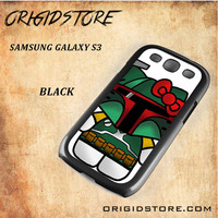 Boba Fett Hello Kitty Star Wars Black White Snap On 3D For Samsung Galaxy S3 Case