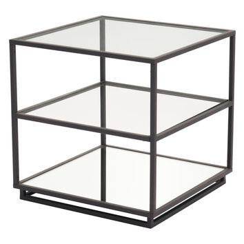 Kure End Table-Distressed Black