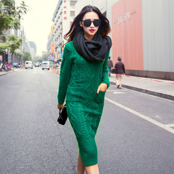 Winter Knitted Bodycon Sweater Dress