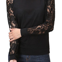 Trendy Lace Raglan Sleeve Pullover Knit Top