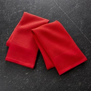Waffle-Terry Red Dish Towels, Set of 2