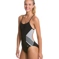 Nike Swim Poly Team Splice Cut Out Tank One Piece Swimsuit at SwimOutlet.com - Free Shipping