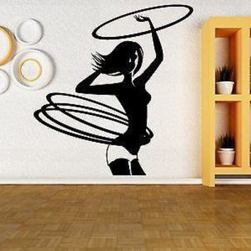 Wall Vinyl Sticker Decal Hula Hoop Girl Gymnastics Sports Fitness Gym Unique Gift (z3040)