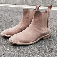 DCK7YE Chelsea boots men brand designer New martin style slp Genuine Leather ankle boots men