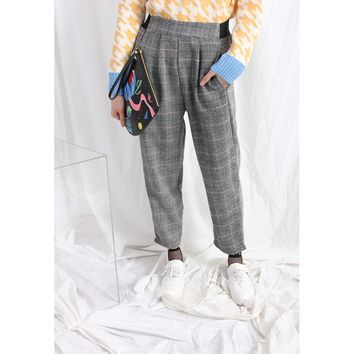 (Korean) 80s Style Plaid Woolly Trousers