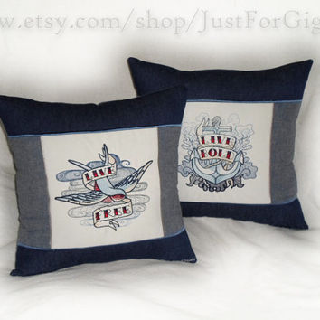 "Tattoo Throw Pillow Set (2) "" Live Free Live Bold "" on navy indigo blue denim 14x14 inch sparrow nautical rockabilly ink decorative cushions"