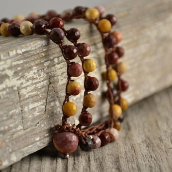 Multicolored beaded crochet necklace. Mookaite bead jewelry